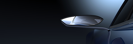 Car mirror rendered with CATIA